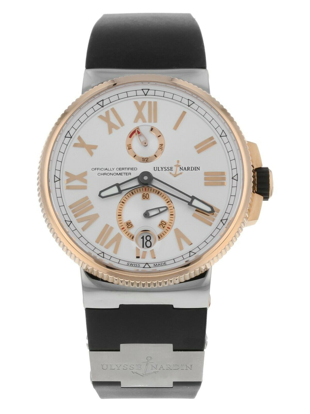 Ulysse Nardin Marine Chronometer 18k Rose Gold & Steel Automatic Mens 45mm Watch