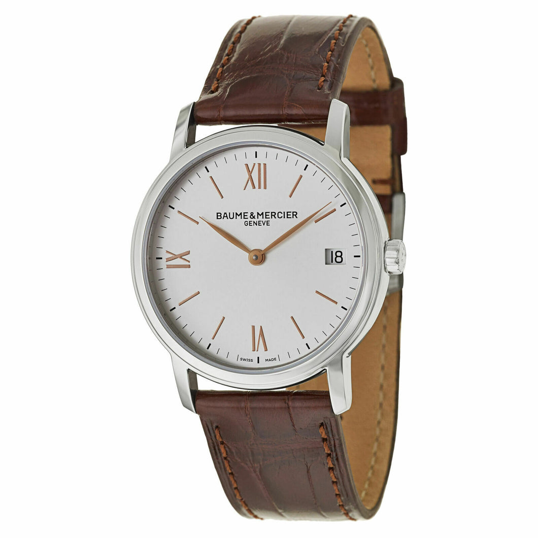 Baume & Mercier Classima Silver Dial Brown Leather Ladies 33mm Watch MOA10147