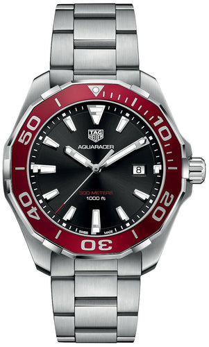 Tag Heuer Aquaracer Black Dial Stainless Steel Men's 43mm Watch WAY101B.BA0746