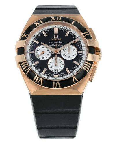 Omega Double Eagle 18k Rose Gold Automatic Chronograph Mens Watch 1619.51.91