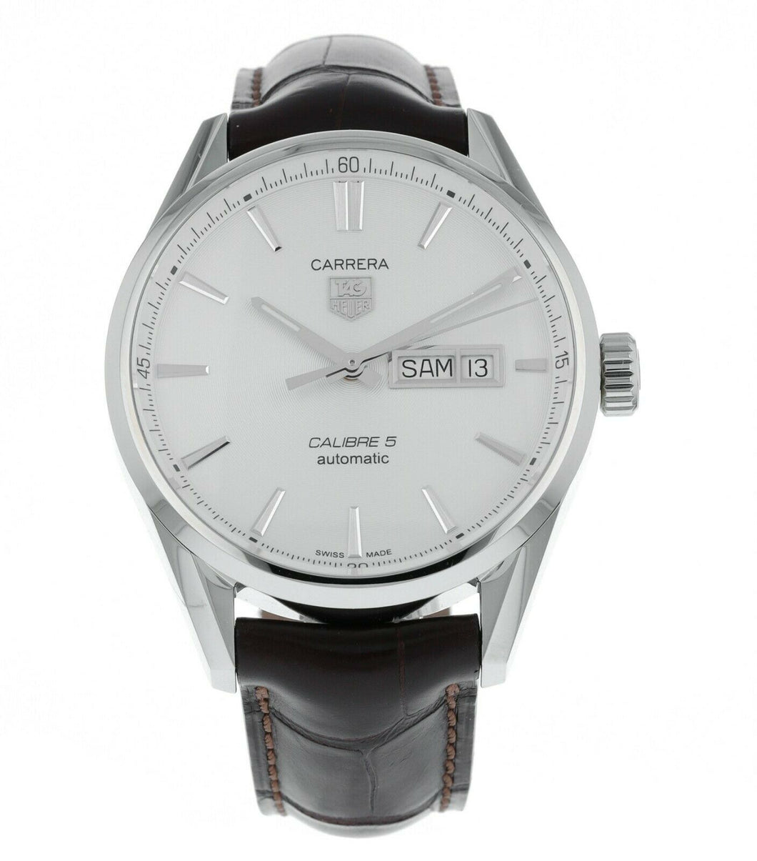 Tag Heuer Carrera Calibre 5 Silver Dial 41mm Leather Men's Watch WAR201B.FC6291