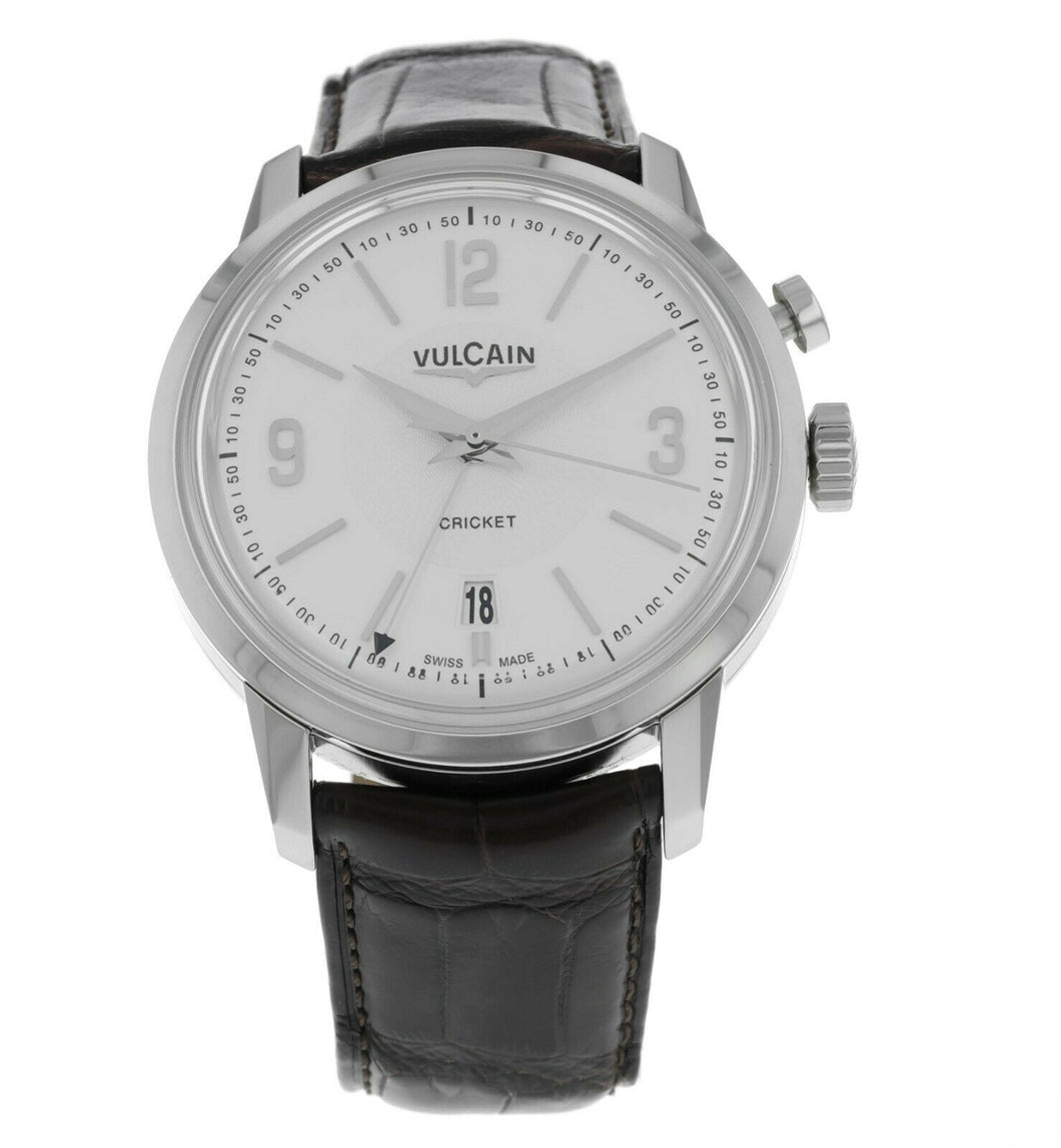 Vulcain 50s President Cricket Alarm Silver Dial Men's 42mm Watch 110151.281L