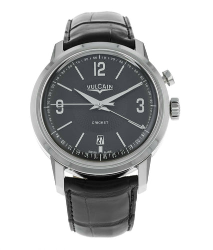 Vulcain 50s President Cricket Alarm Black Dial Men's 42mm Watch 110151.283L