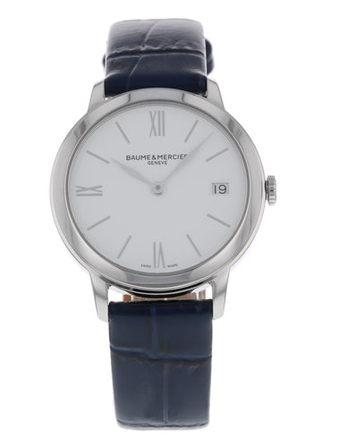 Baume & Mercier Classima White Dial Ladies Quartz 31mm Blue Strap Watch MOA10353