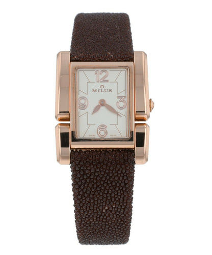 Milus Apiana White Dial 18k Rose Gold Ladies Quartz Galuchat Strap Watch API421