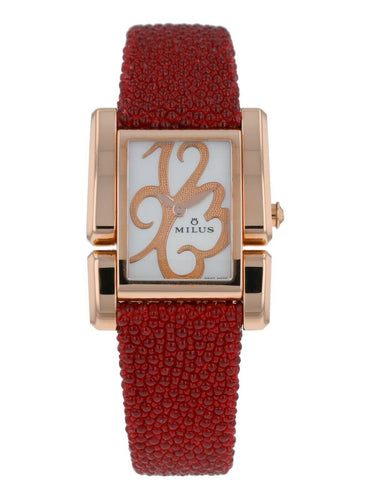 Milus Apiana White Dial 18k Rose Gold Ladies Galuchat Strap Quartz Watch API411