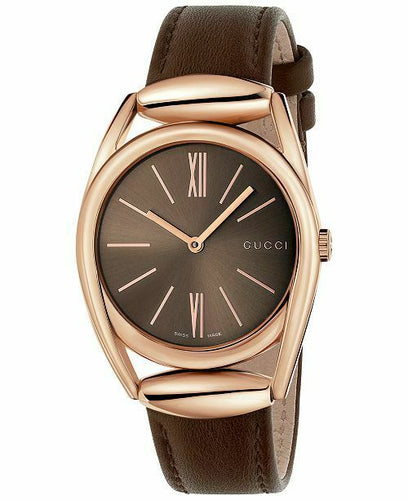 Gucci Horsebit Brown Dial Brown Leather 34mm Quartz Ladies Watch YA140408