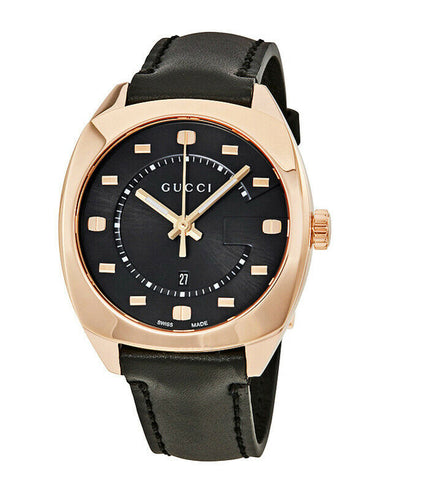 Gucci GG2570 Black Dial Rose Gold-tone Ladies 37mm Quartz Watch YA142407