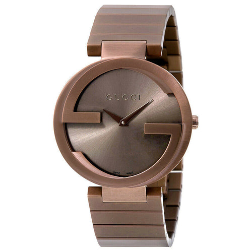 Gucci Interlocking G Brown Dial Brown PVD Ladies 37mm Quartz Watch YA133317
