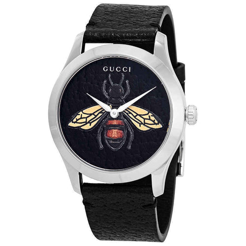 Gucci G-Timeless Black Dial with Embroidered Honeybee Ladies Watch YA1264067