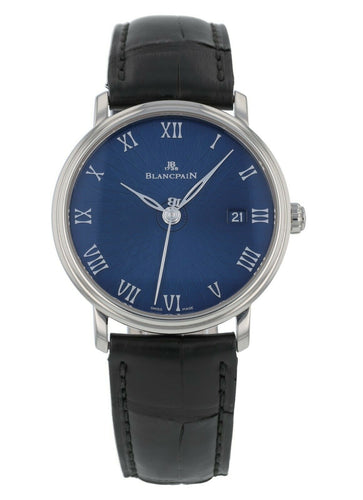 Blancpain Villeret Ultra Slim 18k White Gold Blue Dial Mens Watch 6223C-1529-55A
