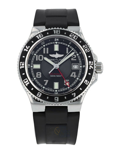 Breitling Superocean GMT Black Dial Automatic Stainless Steel 41mm Men's Watch