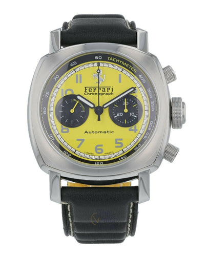 Panerai Ferrari Gran Turismo Chronograph Steel 45mm Yellow Dial Watch FER00011