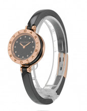 Bulgari B.zero1 Quartz 23mm 18k Rose Gold & Ceramic Ladies M Size Bangle Watch