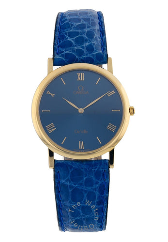 Omega DeVille 18k Yellow Gold 32.5mm Blue Dial Leather Quartz Watch 6280.80.02