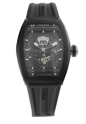 Cvstos Challenge Twin-Time Automatic Open-Worked Dial Mens Watch TWIN TIME BL ST