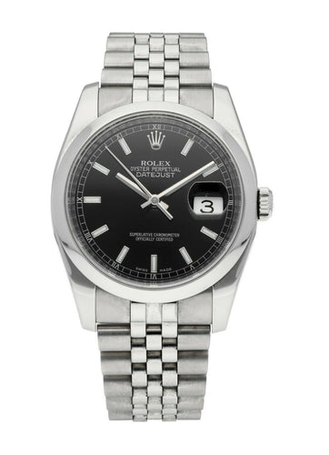 Rolex Datejust Auto 36mm Steel Men's Black Dial Jubilee Bracelet Watch 116200