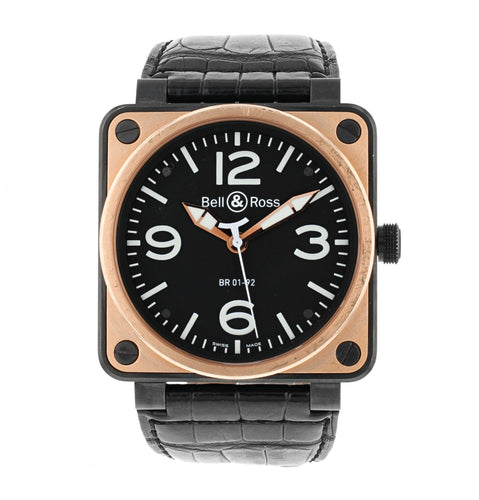 BELL & ROSS AVIATION 18K ROSE GOLD & CARBON 46MM AUTOMATIC MEN'S WATCH BR 01-92