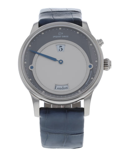 Jaquet Droz Les Douze Villes - 12 Cities Jumping Hour 18k White Gold Men's Watch