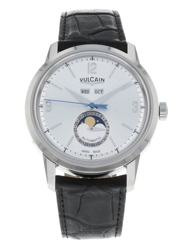 Vulcain 50s Presidents Silver Dial Men's Automatic Triple-Date Moonphase Watch