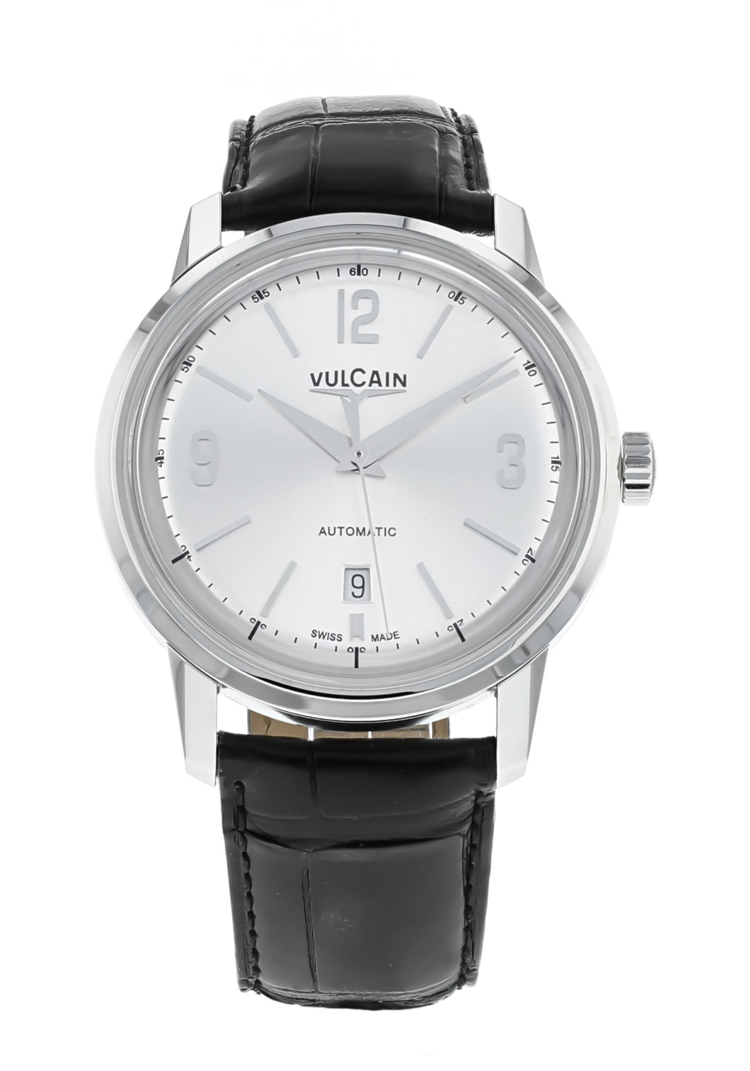 Vulcain 50s Presidents Men's Automatic 42mm Black Leather Strap Watch 560156.303