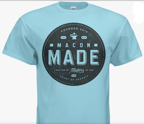 Baby Blue Macon Made T-Shirt with Big Logo