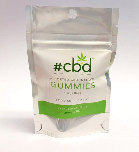 #CBD - CBD Infused Gummy Sweets - Pack of 4 (25mg CBD / Sweet)