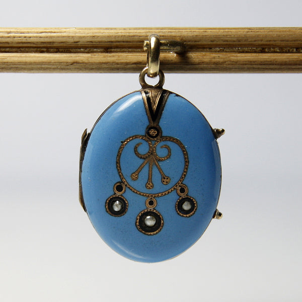 Antique 14k Gold Turquoise Blue Enamel And Pearl Locket - Greg DeMark