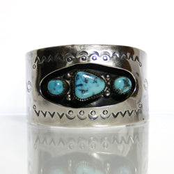 Navajo Sterling Silver Turquoise Bracelet By Anson Joe - Greg DeMark