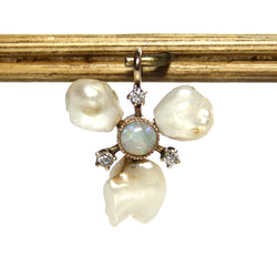 Antique Edwardian Opal And Diamond Pendant With River Pearls - Greg DeMark