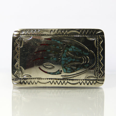 Sterling Silver Bear Paw Buckle With Turquoise And Coral Inlay - Greg DeMark