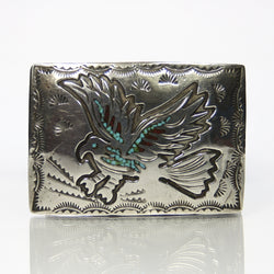 Signed Southwestern Sterling Silver Chip Inlay Belt Buckle - Greg DeMark