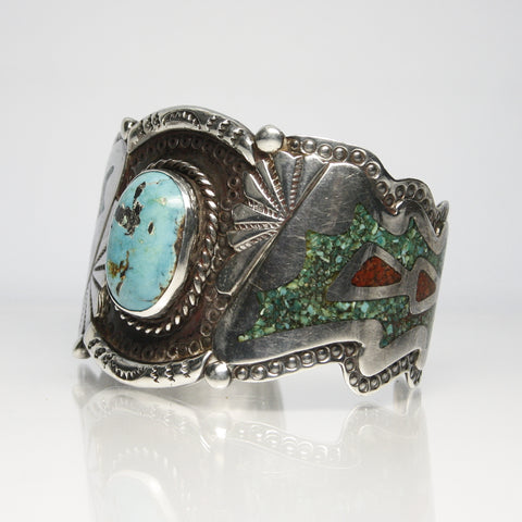 Navajo Carl Allen Begay Turquoise And Coral Cuff Bracelet - Greg DeMark
