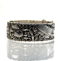 Vintage Sterling Silver Bangle Bracelet Repousse Chinese Jewelry - Greg DeMark