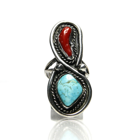 Vintage Southwestern Sterling Silver Coral Turquoise Ring - Greg DeMark