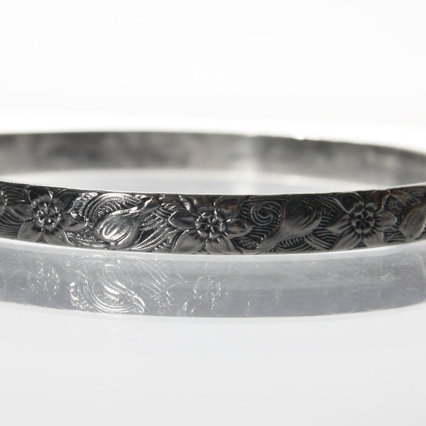 Vintage Danecraft Felch Sterling Bangle Bracelet With Crocus Pattern - Greg DeMark