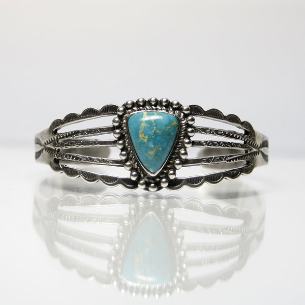 Vintage Fred Harvey Era Turquoise Bracelet With Navajo Stamp Work - Greg DeMark