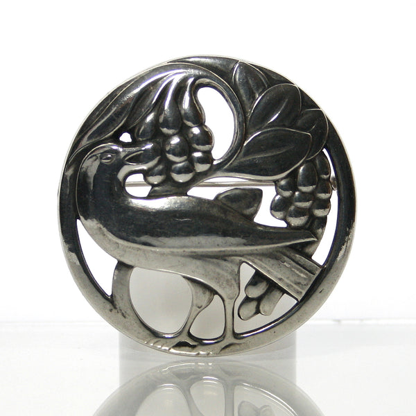 Georg Jensen Sterling Silver Bird Eating Berries Brooch - Greg DeMark