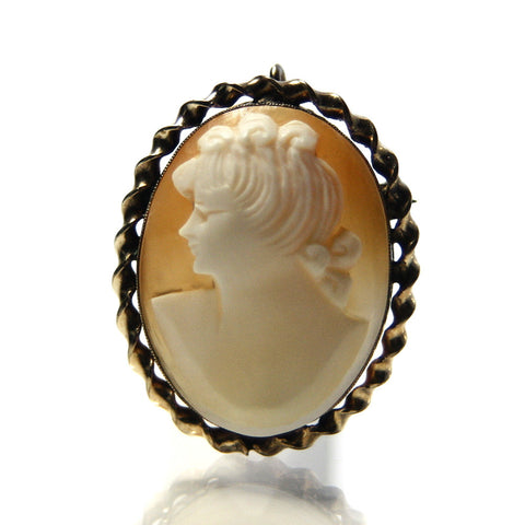 Vintage Shell Cameo Pendant Brooch With Gold Filled Frame - Greg DeMark