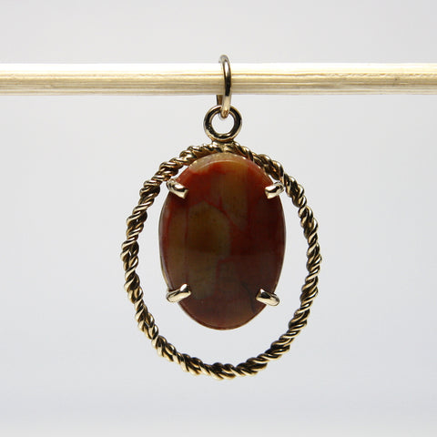 Handmade 14K Yellow Gold Jasper Pendant - Greg DeMark