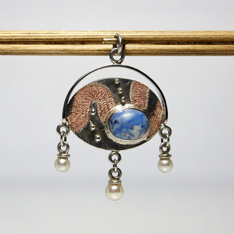Handmade Sterling Silver Lapis Lazuli Pendant With Cultured Pearls - Greg DeMark