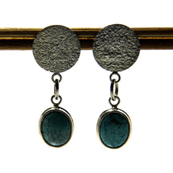 Handmade Sterling Turquoise Dangle Earrings - Greg DeMark