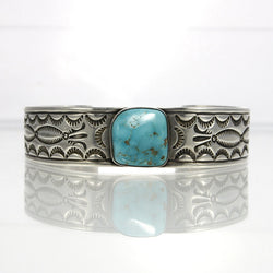 Vintage Turquoise Bracelet Cuff With Navajo Jewelry Stamp Work - Greg DeMark