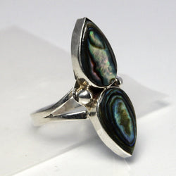 Mexican Sterling Silver Abalone Ring Size 5.25 Signed FDP Taxco Mexico - Greg DeMark