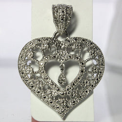 Vintage Heart Pendant Sterling Silver Filigree With Diamond Dangle - Greg DeMark