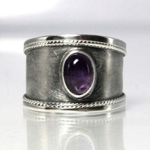 Wide Vintage Adjustable Sterling Amethyst Ring Size 8.25 - Greg DeMark