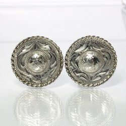 Mexican Sterling Silver Earrings Hand Engraved Pre Eagle Mark - Greg DeMark