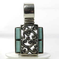 Large Sterling Silver Pendant Vintage Boho Jewelry With Faux Turquoise - Greg DeMark