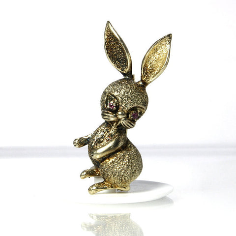 Vintage Les Bernard Vermeil Sterling Ruby Eyed Bunny Rabbit Brooch - Greg DeMark