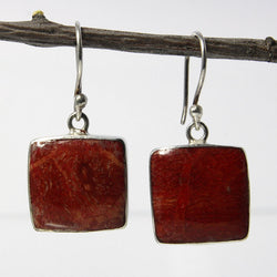 Vintage Sterling Blue Red Boho Dangle Earrings - Greg DeMark